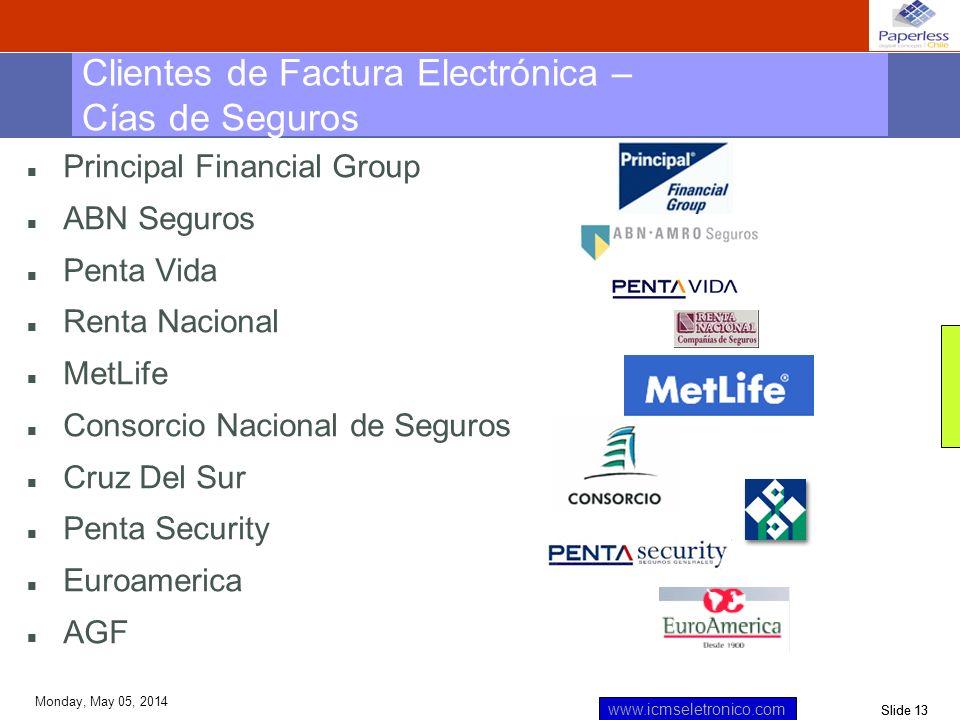 Slide 13 www.icmseletronico.com Monday, May 05, 2014 n Principal Financial Group n ABN Seguros n Penta Vida n Renta Nacional n MetLife n Consorcio Nac