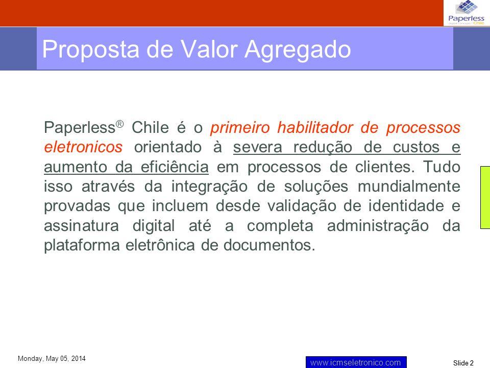 Slide 3 www.icmseletronico.com Monday, May 05, 2014 Paperless ® Chile - Experiencia Empresa nasce no ano 2000 Foco Exclusivo em Processos Eletrônicos 3 anos em Fatura Eletrônica 60 Clientes Fatura Eletrônica –90% mercado Ceas.