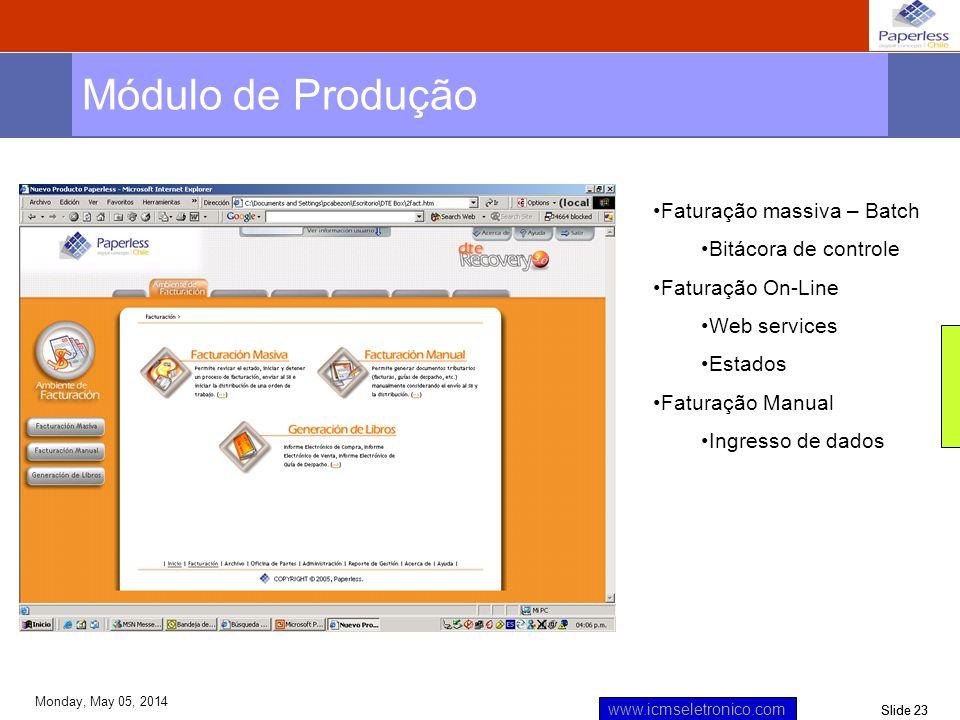 Slide 23 www.icmseletronico.com Monday, May 05, 2014 Módulo de Produção Faturação massiva – Batch Bitácora de controle Faturação On-Line Web services