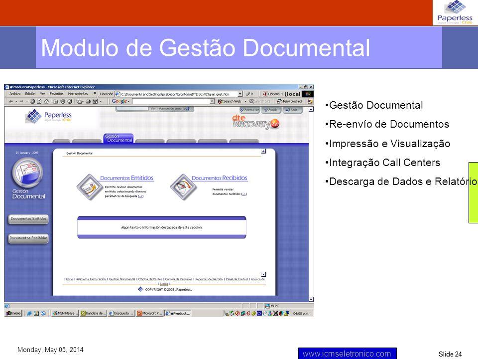 Slide 24 www.icmseletronico.com Monday, May 05, 2014 Modulo de Gestão Documental Gestão Documental Re-envío de Documentos Impressão e Visualização Int