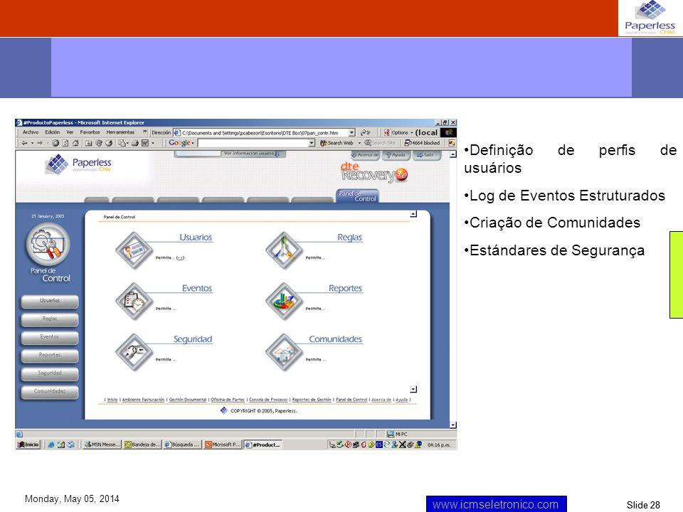 Slide 28 www.icmseletronico.com Monday, May 05, 2014 Definição de perfis de usuários Log de Eventos Estruturados Criação de Comunidades Estándares de