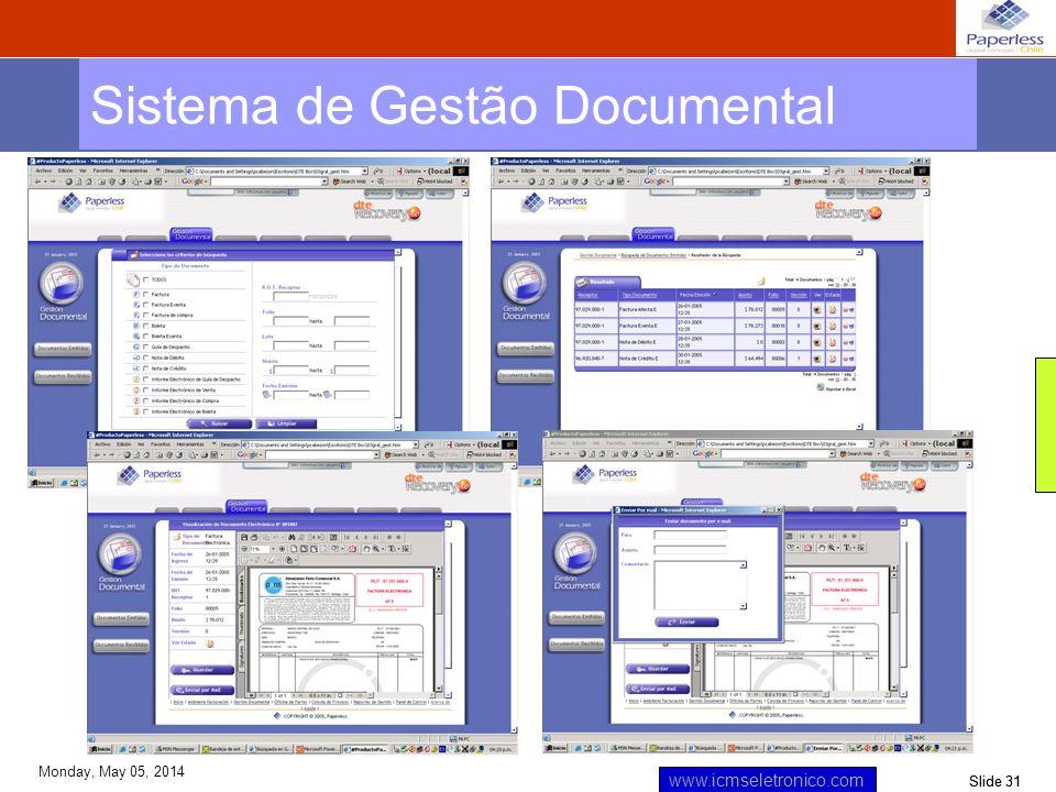 Slide 31 www.icmseletronico.com Monday, May 05, 2014 Sistema de Gestão Documental