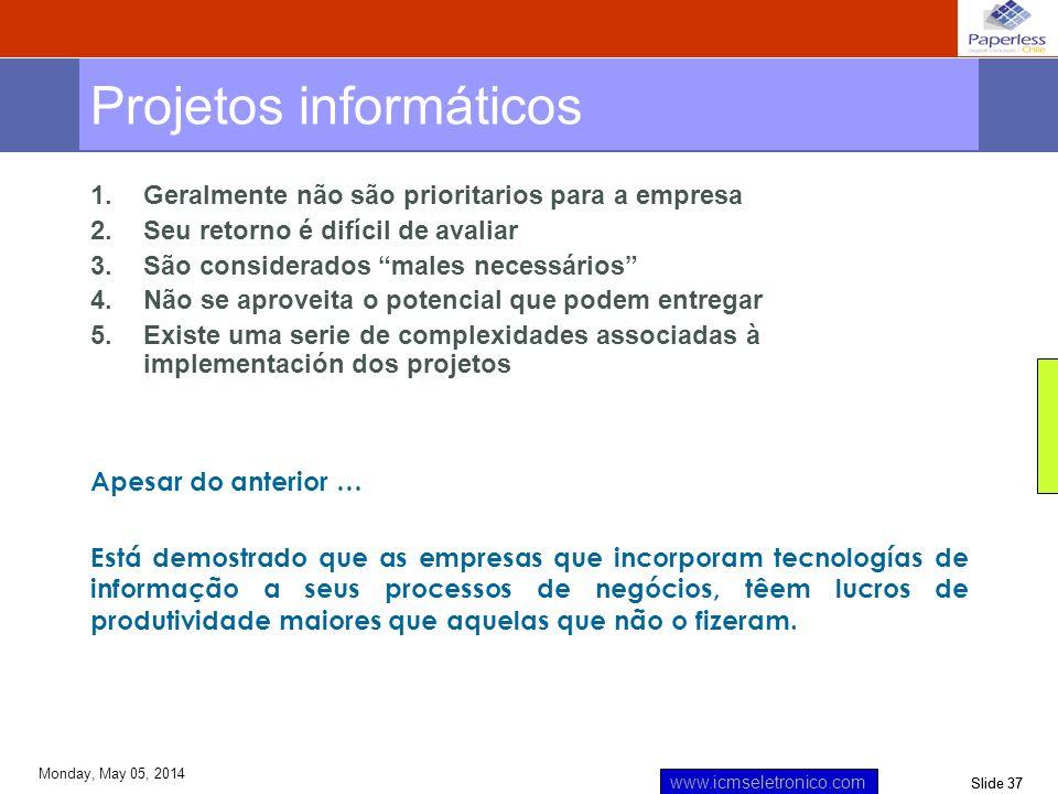 Slide 37 www.icmseletronico.com Monday, May 05, 2014 Projetos informáticos 1.Geralmente não são prioritarios para a empresa 2.Seu retorno é difícil de