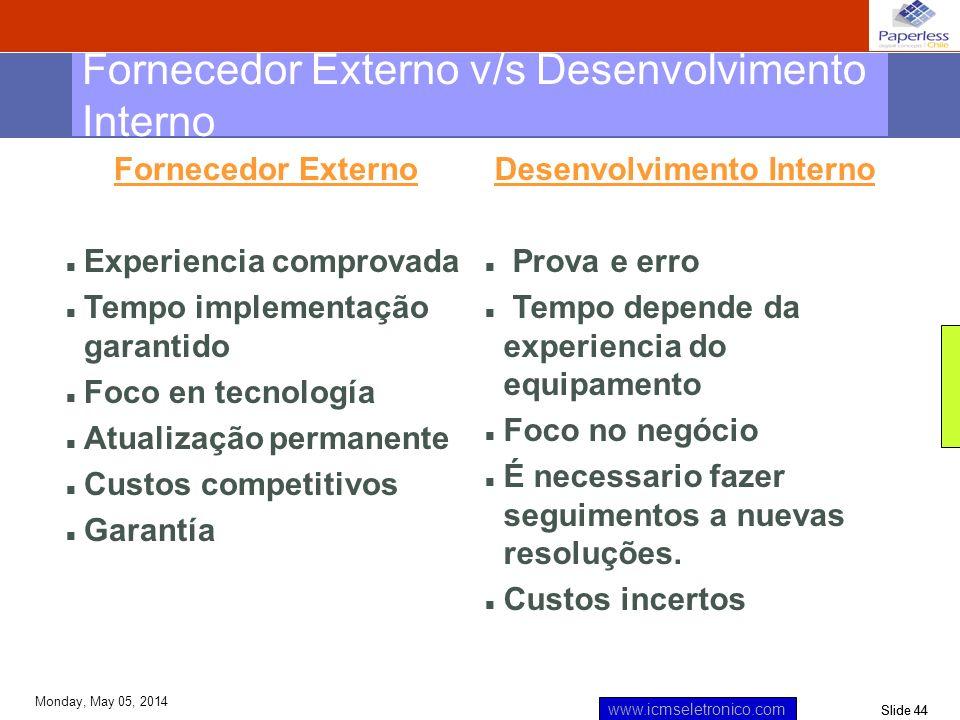 Slide 44 www.icmseletronico.com Monday, May 05, 2014 Fornecedor Externo Experiencia comprovada Tempo implementação garantido Foco en tecnología Atuali
