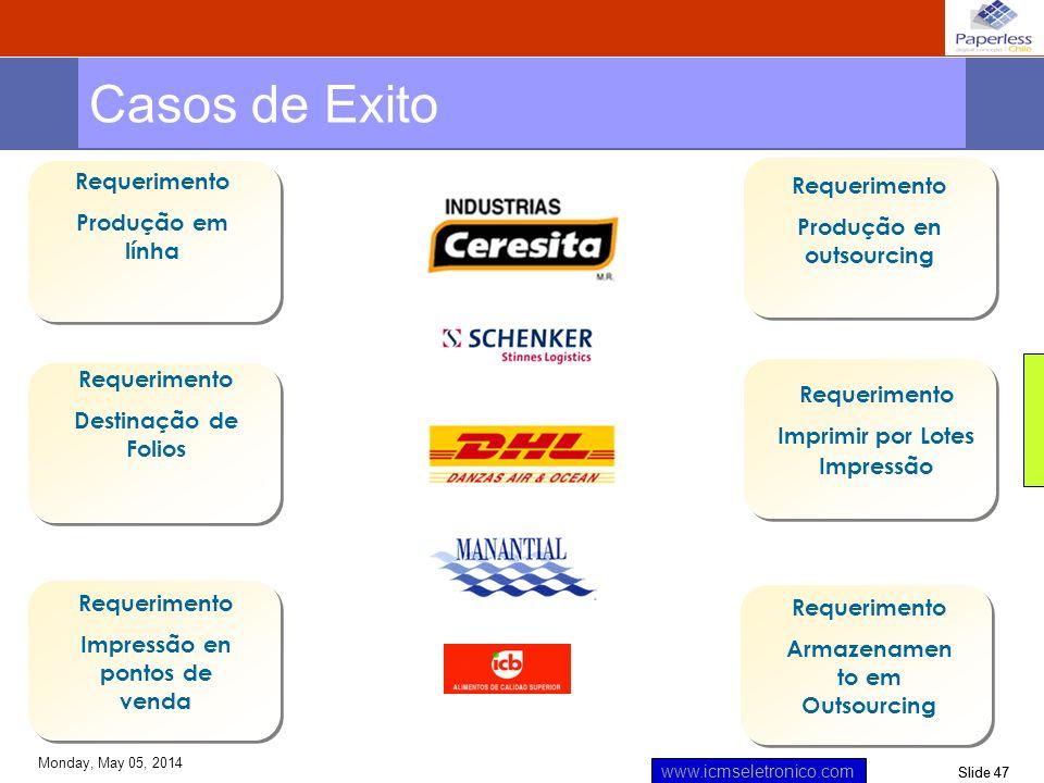 Slide 47 www.icmseletronico.com Monday, May 05, 2014 Requerimento Produção em línha Requerimento Destinação de Folios Requerimento Imprimir por Lotes