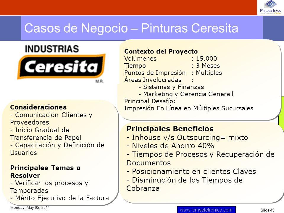 Slide 49 www.icmseletronico.com Monday, May 05, 2014 Casos de Negocio – Pinturas Ceresita Contexto del Proyecto Volúmenes: 15.000 Tiempo : 3 Meses Pun