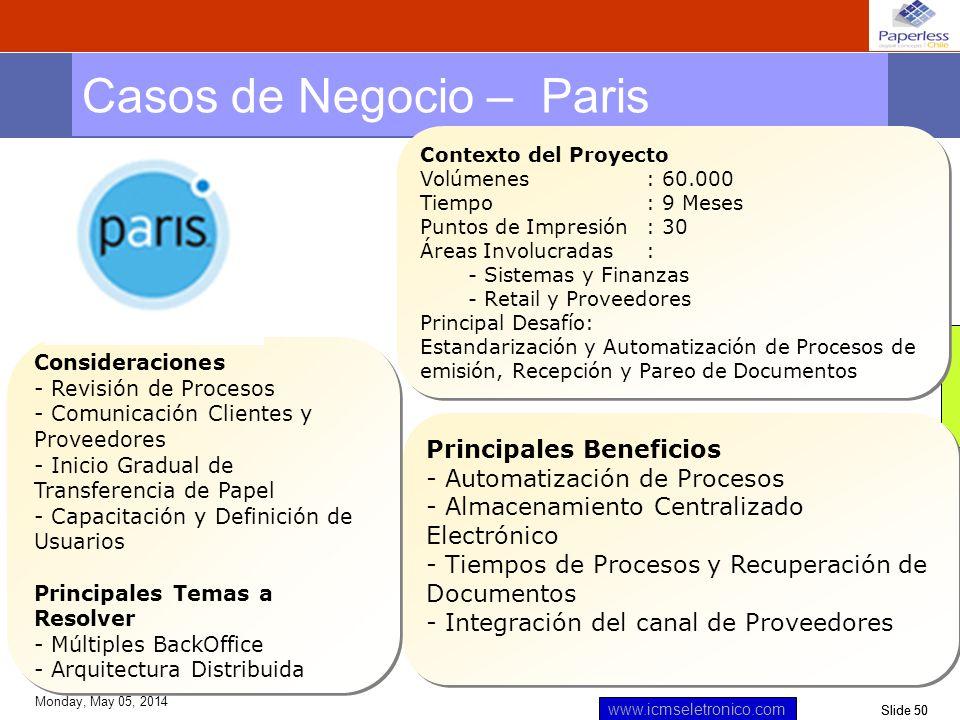 Slide 50 www.icmseletronico.com Monday, May 05, 2014 Casos de Negocio – Paris Contexto del Proyecto Volúmenes: 60.000 Tiempo : 9 Meses Puntos de Impre
