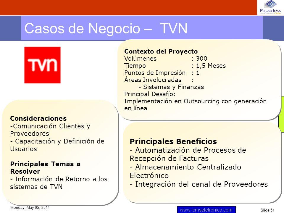 Slide 51 www.icmseletronico.com Monday, May 05, 2014 Casos de Negocio – TVN Contexto del Proyecto Volúmenes: 300 Tiempo : 1,5 Meses Puntos de Impresió