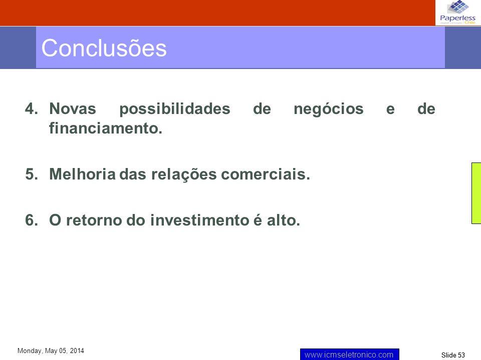 Slide 53 www.icmseletronico.com Monday, May 05, 2014 4.Novas possibilidades de negócios e de financiamento. 5.Melhoria das relações comerciais. 6.O re