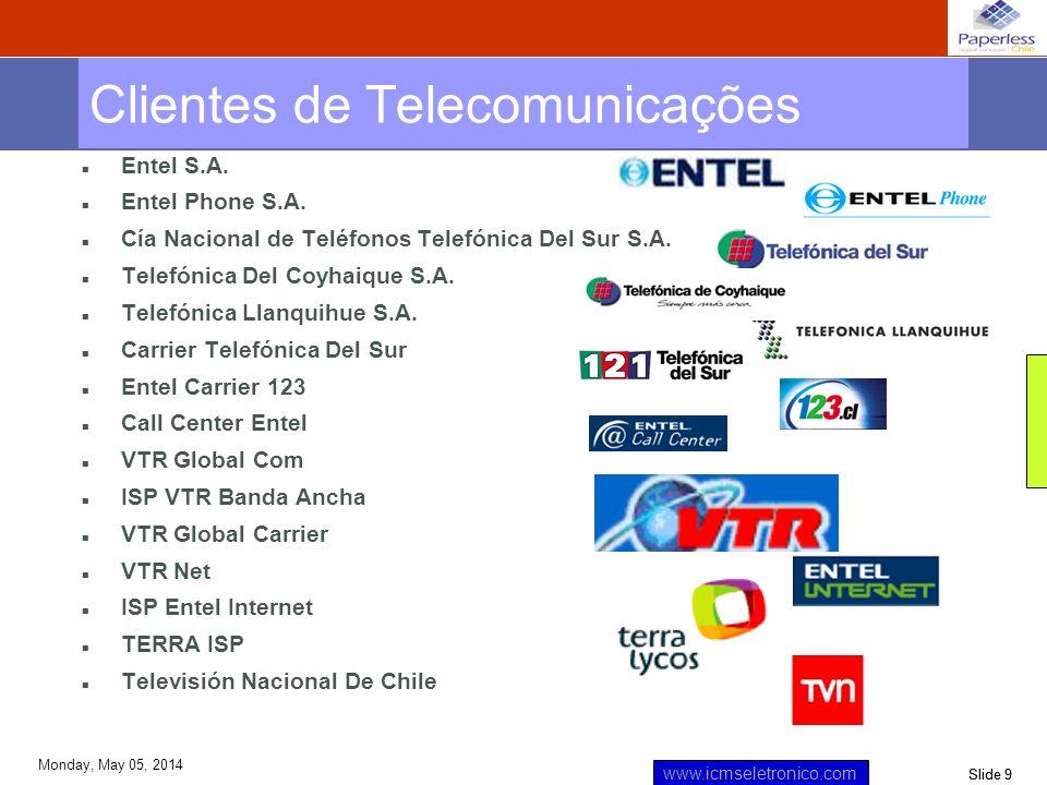 Slide 10 www.icmseletronico.com Monday, May 05, 2014 n Principal Créditos Hipotecarios n Principal AGF n ABN AMRO BANK n ABN AMRO Inversiones n ABN AMRO Finance n Banco de Chile n Euroamerica Clientes Mercado Financeiro