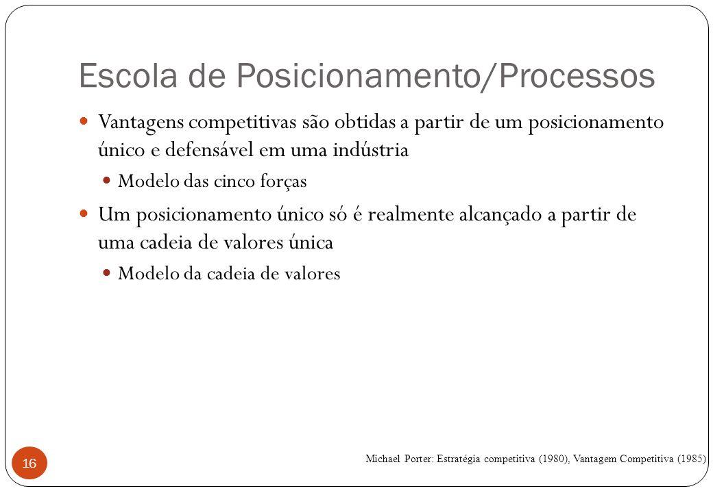 Escola de Posicionamento/Processos Vantagens competitivas são obtidas a partir de um posicionamento único e defensável em uma indústria Modelo das cinco forças Um posicionamento único só é realmente alcançado a partir de uma cadeia de valores única Modelo da cadeia de valores Michael Porter: Estratégia competitiva (1980), Vantagem Competitiva (1985) 16