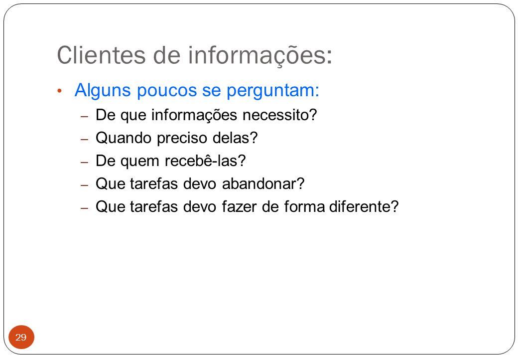 Clientes de informações: Alguns poucos se perguntam: – De que informações necessito.