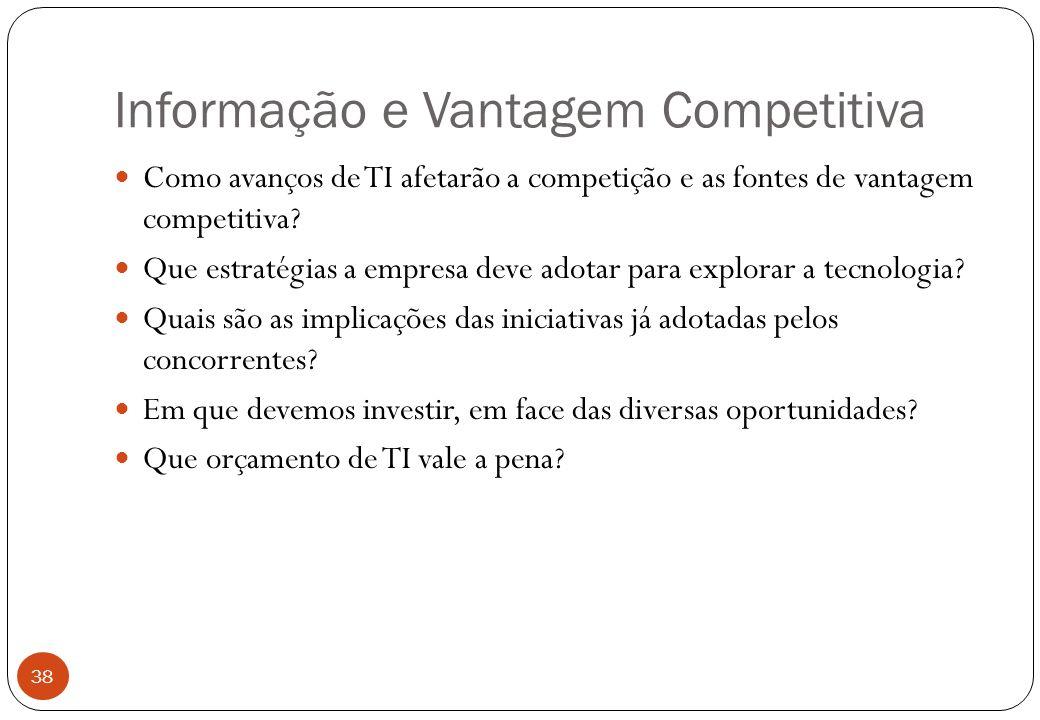 Informação e Vantagem Competitiva Como avanços de TI afetarão a competição e as fontes de vantagem competitiva.