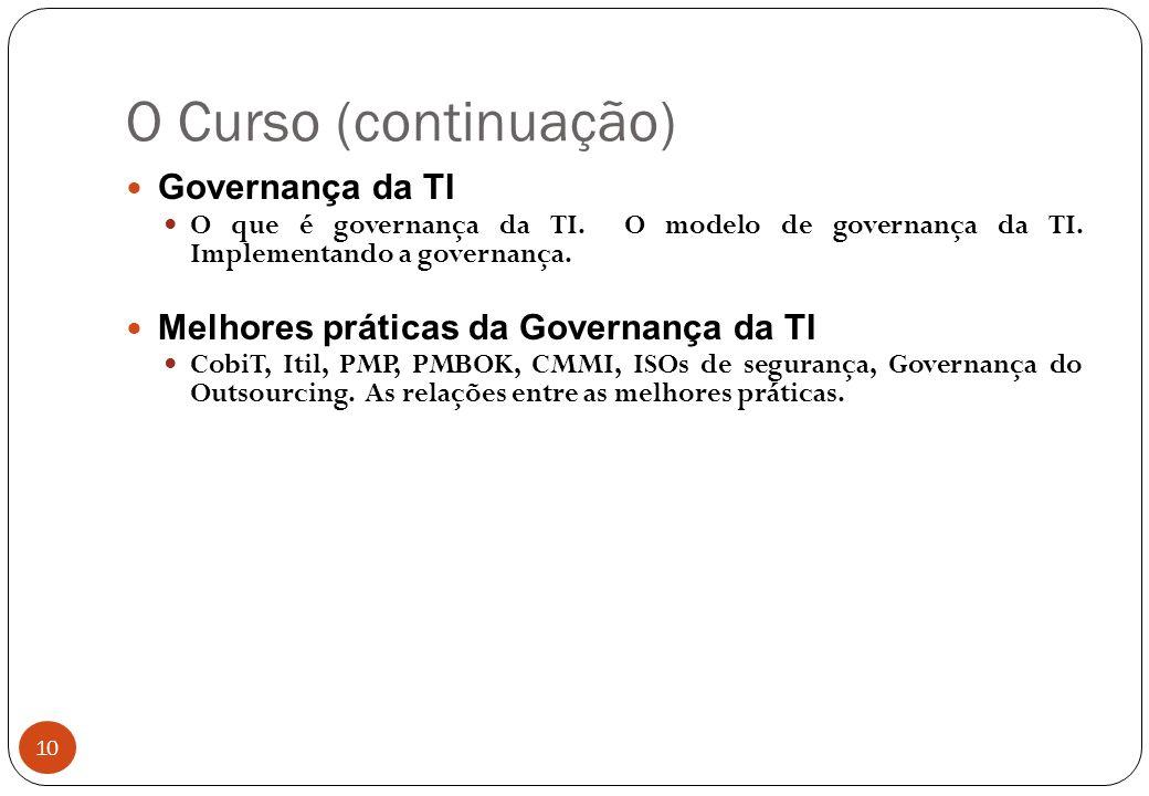 O Curso (continuação) Governança da TI O que é governança da TI.