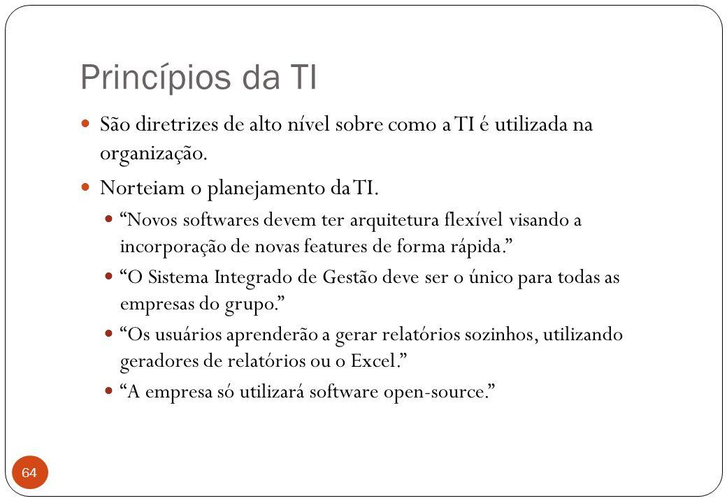 Princípios da TI São diretrizes de alto nível sobre como a TI é utilizada na organização.