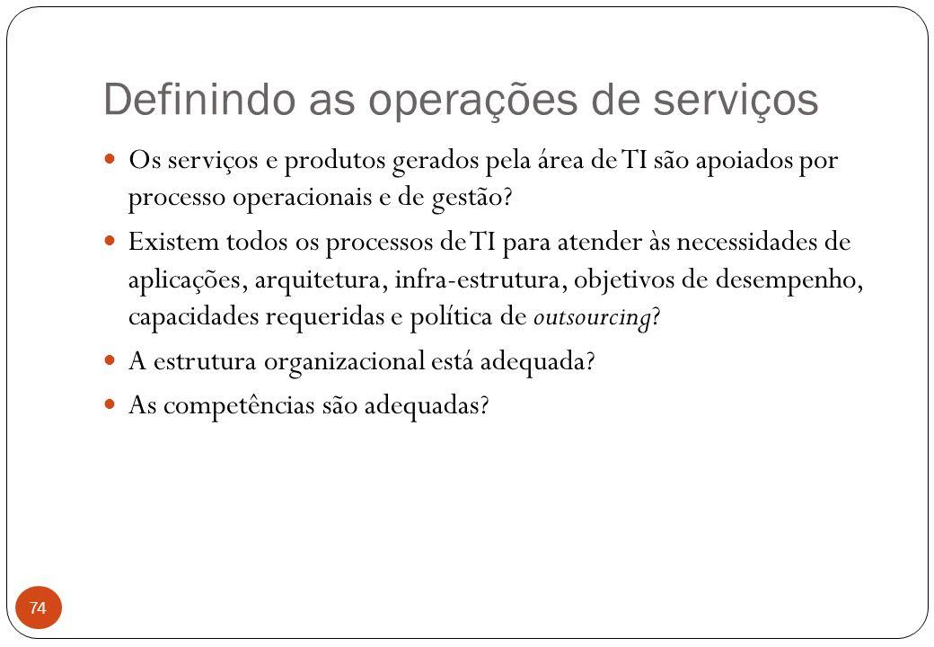 Definindo as operações de serviços Os serviços e produtos gerados pela área de TI são apoiados por processo operacionais e de gestão.