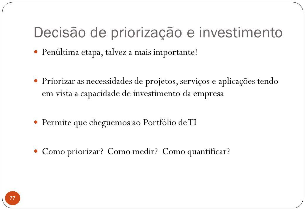 Decisão de priorização e investimento Penúltima etapa, talvez a mais importante.