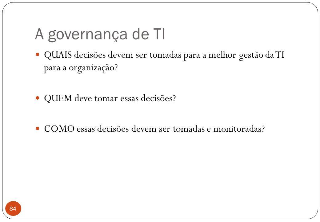 A governança de TI QUAIS decisões devem ser tomadas para a melhor gestão da TI para a organização.