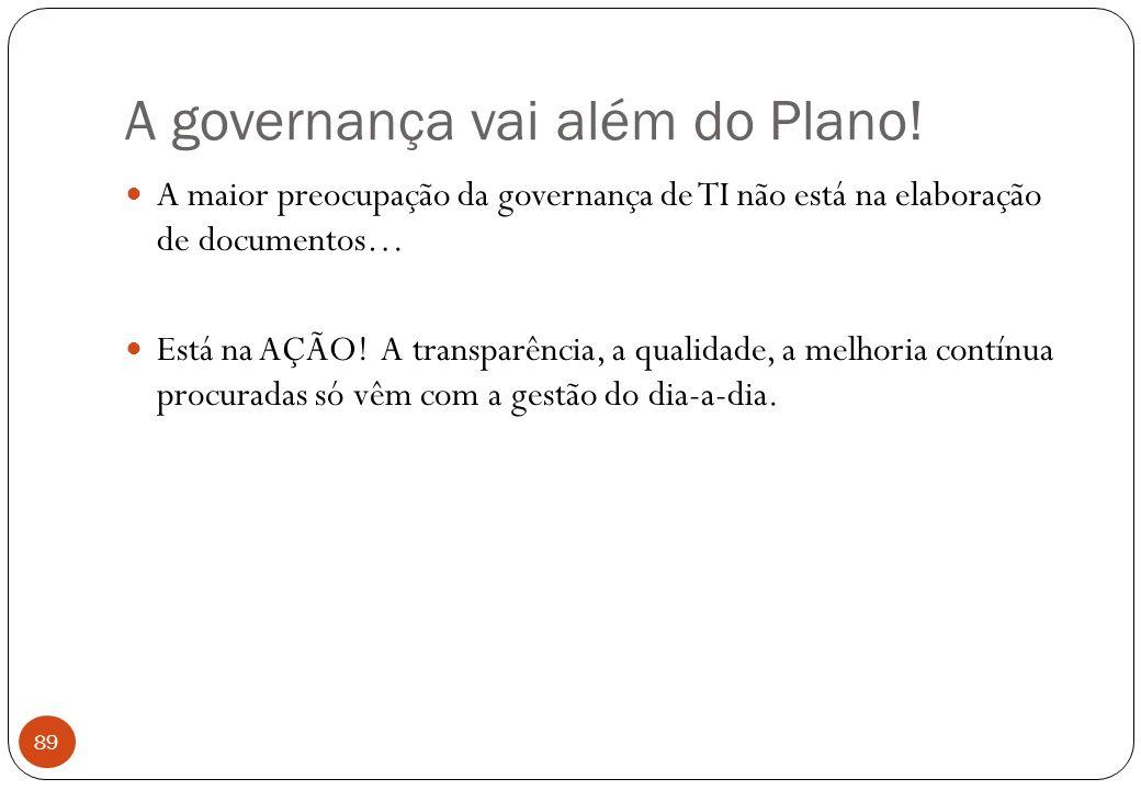 A governança vai além do Plano.