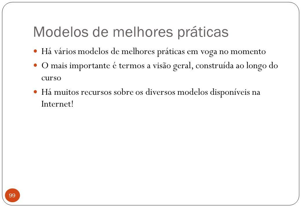 Modelos de melhores práticas Há vários modelos de melhores práticas em voga no momento O mais importante é termos a visão geral, construída ao longo do curso Há muitos recursos sobre os diversos modelos disponíveis na Internet.