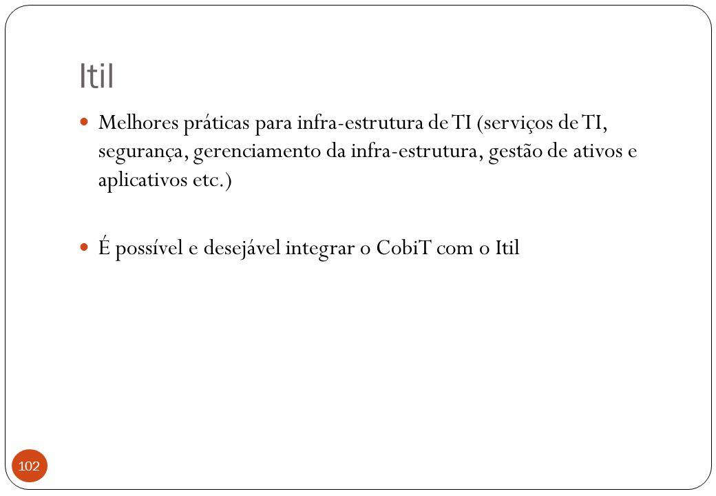 Itil Melhores práticas para infra-estrutura de TI (serviços de TI, segurança, gerenciamento da infra-estrutura, gestão de ativos e aplicativos etc.) É possível e desejável integrar o CobiT com o Itil 102