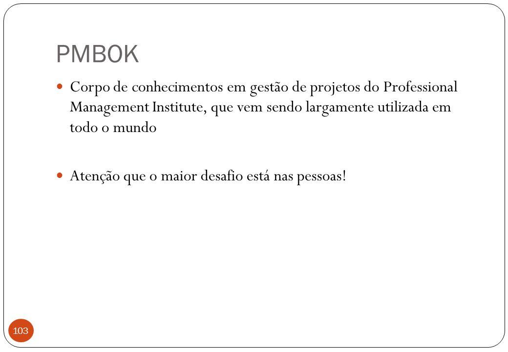 PMBOK Corpo de conhecimentos em gestão de projetos do Professional Management Institute, que vem sendo largamente utilizada em todo o mundo Atenção que o maior desafio está nas pessoas.