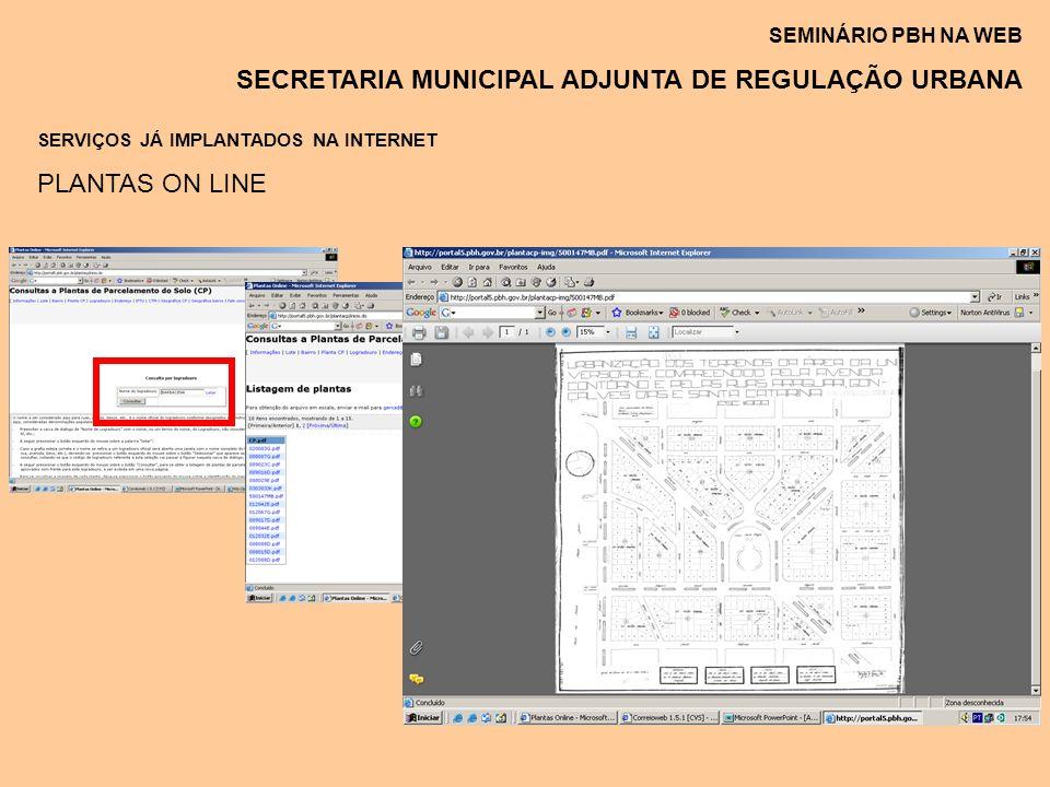 SEMINÁRIO PBH NA WEB SECRETARIA MUNICIPAL ADJUNTA DE REGULAÇÃO URBANA SERVIÇOS JÁ IMPLANTADOS NA INTERNET PLANTAS ON LINE