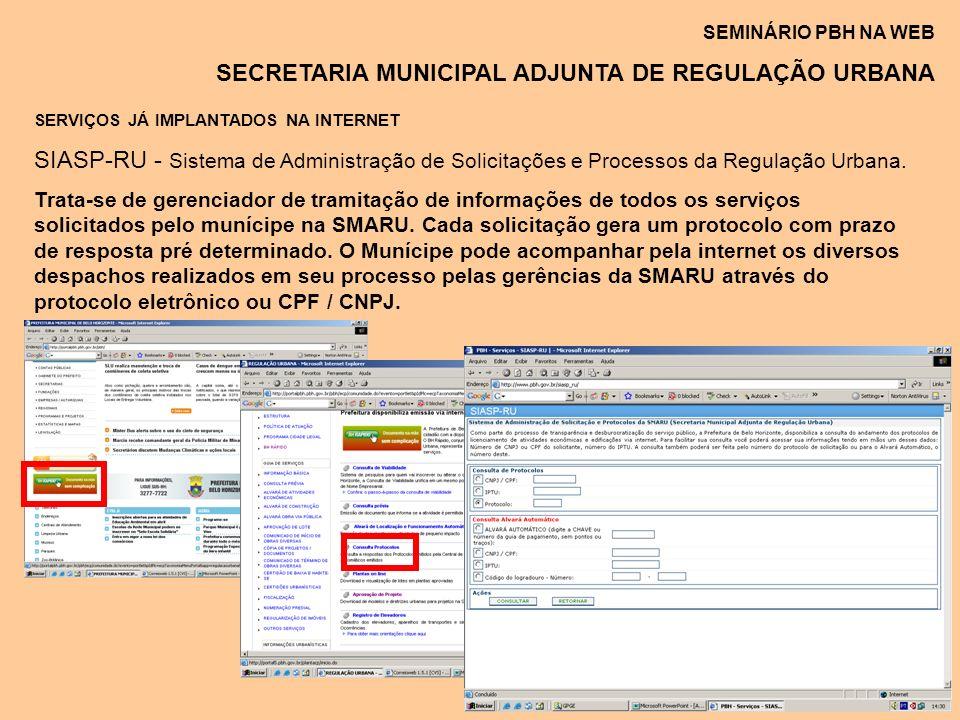 SEMINÁRIO PBH NA WEB SECRETARIA MUNICIPAL ADJUNTA DE REGULAÇÃO URBANA SERVIÇOS JÁ IMPLANTADOS NA INTERNET SIASP-RU - Sistema de Administração de Solic