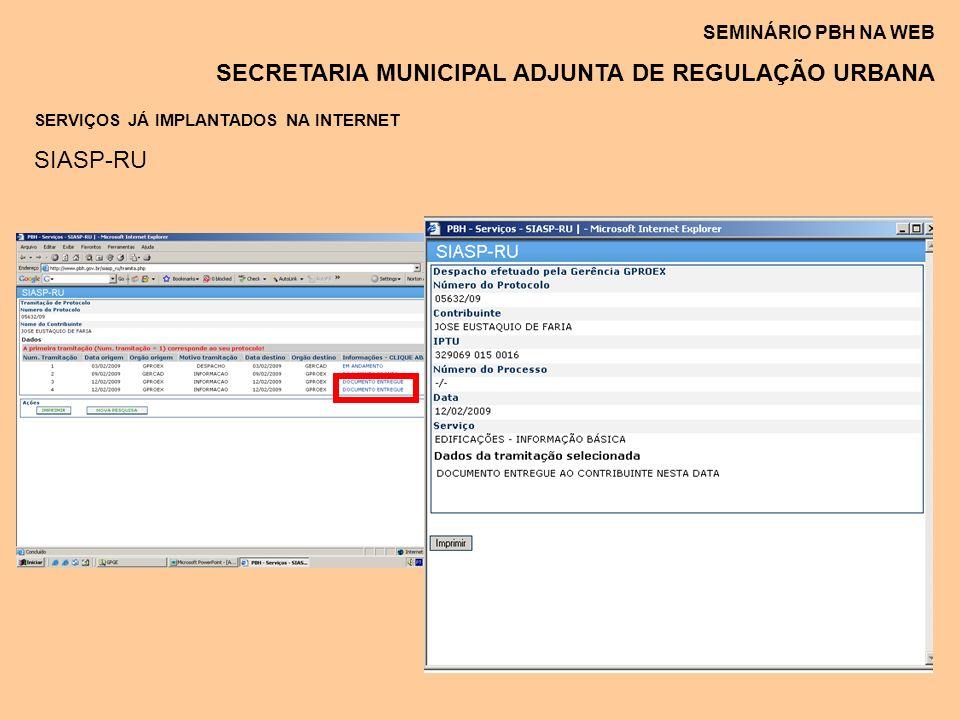 SEMINÁRIO PBH NA WEB SECRETARIA MUNICIPAL ADJUNTA DE REGULAÇÃO URBANA SERVIÇOS JÁ IMPLANTADOS NA INTERNET SIASP-RU