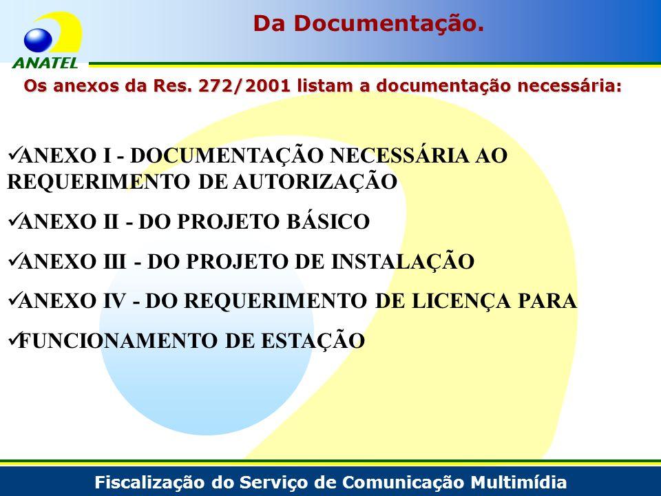 Fiscalização do Serviço de Comunicação Multimídia Da Documentação. Os anexos da Res. 272/2001 listam a documentação necessária: ANEXO I - DOCUMENTAÇÃO