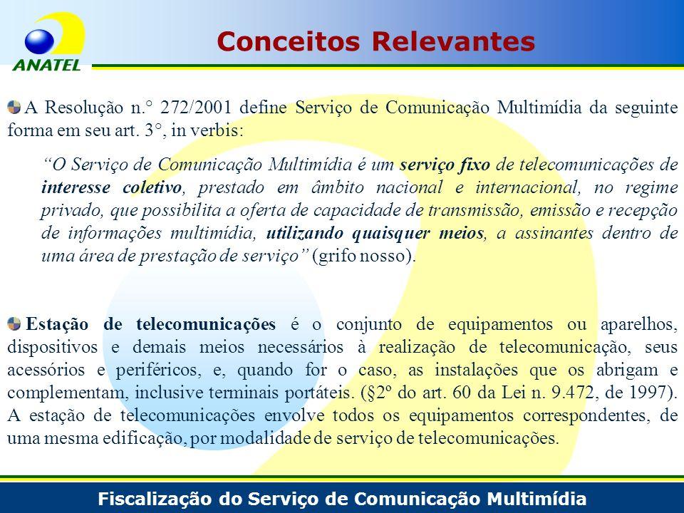 Fiscalização do Serviço de Comunicação Multimídia Conceitos Relevantes A Resolução n.° 272/2001 define Serviço de Comunicação Multimídia da seguinte f