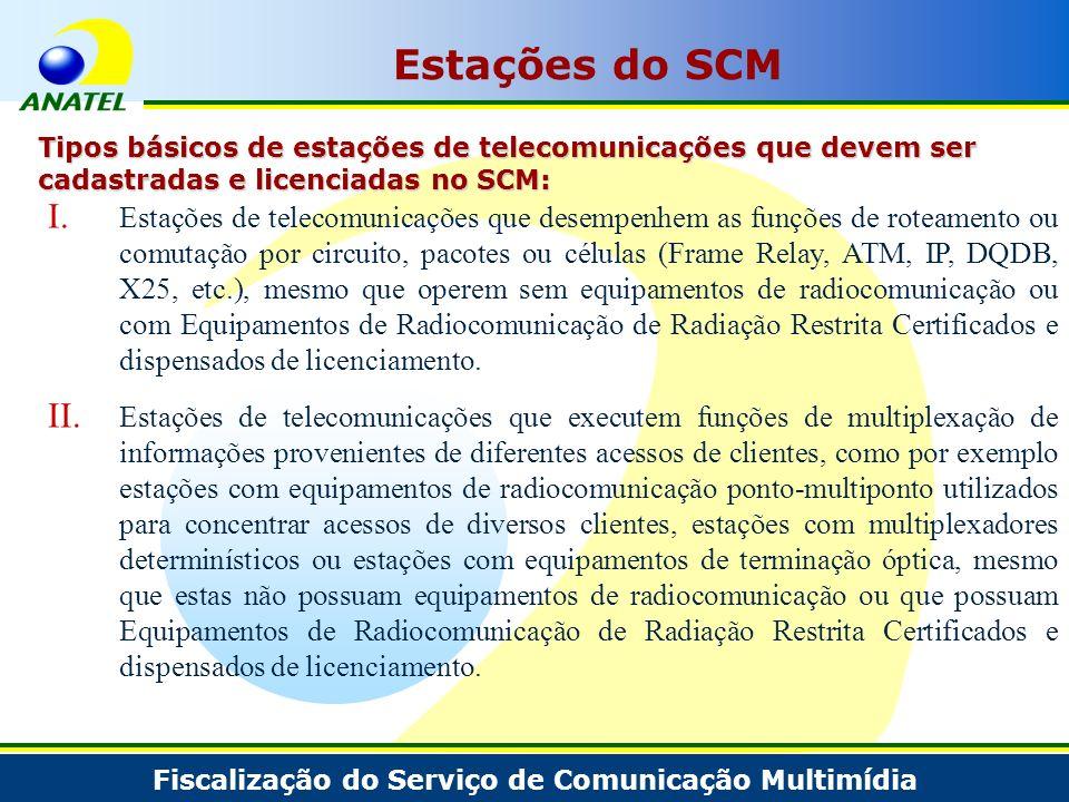 Fiscalização do Serviço de Comunicação Multimídia I. Estações de telecomunicações que desempenhem as funções de roteamento ou comutação por circuito,