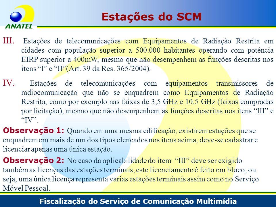 Fiscalização do Serviço de Comunicação Multimídia Estações do SCM III. Estações de telecomunicações com Equipamentos de Radiação Restrita em cidades c