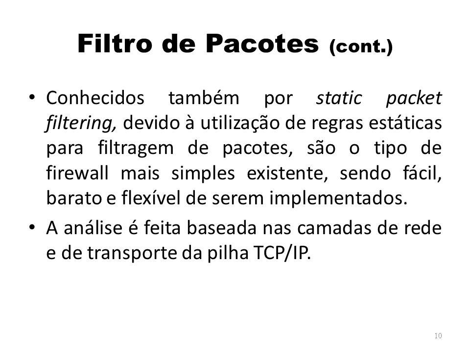 Filtro de Pacotes (cont.) Conhecidos também por static packet filtering, devido à utilização de regras estáticas para filtragem de pacotes, são o tipo de firewall mais simples existente, sendo fácil, barato e flexível de serem implementados.