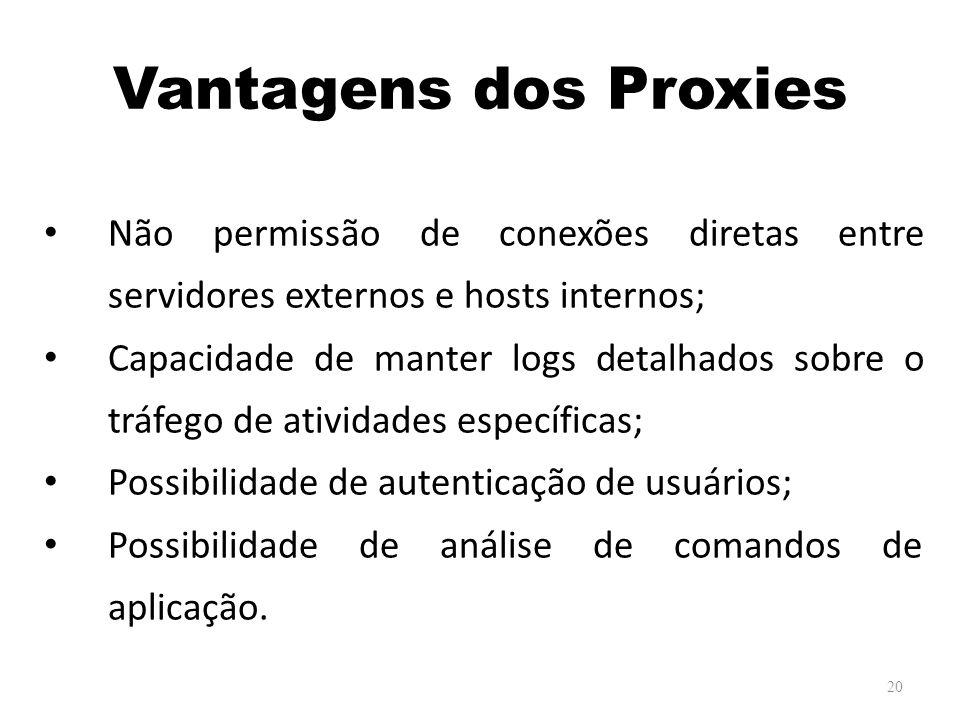Vantagens dos Proxies Não permissão de conexões diretas entre servidores externos e hosts internos; Capacidade de manter logs detalhados sobre o tráfego de atividades específicas; Possibilidade de autenticação de usuários; Possibilidade de análise de comandos de aplicação.