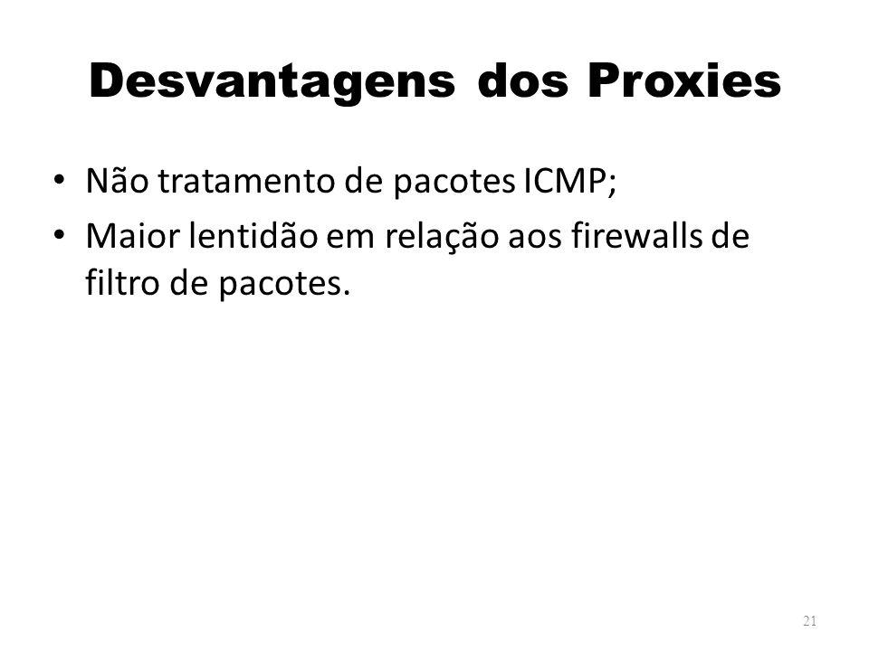Desvantagens dos Proxies Não tratamento de pacotes ICMP; Maior lentidão em relação aos firewalls de filtro de pacotes.