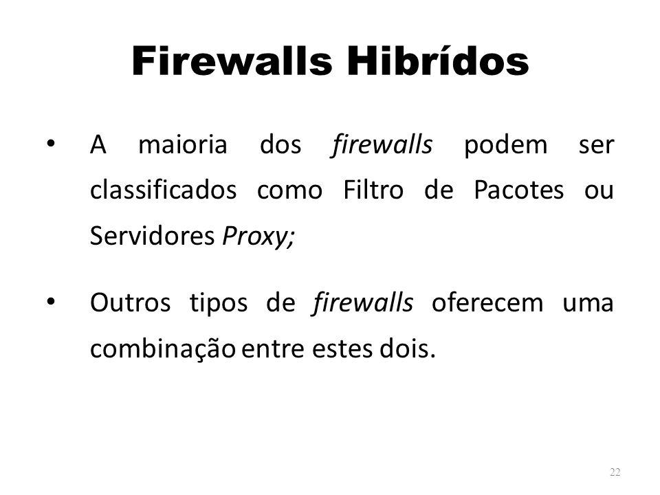 Firewalls Hibrídos A maioria dos firewalls podem ser classificados como Filtro de Pacotes ou Servidores Proxy; Outros tipos de firewalls oferecem uma combinação entre estes dois.