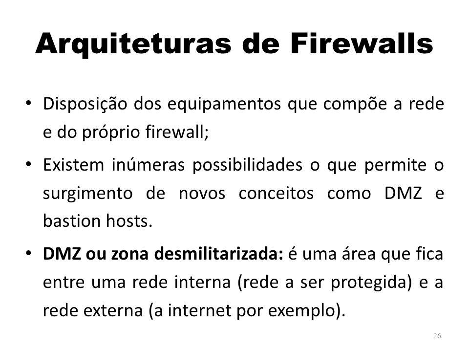 Arquiteturas de Firewalls Disposição dos equipamentos que compõe a rede e do próprio firewall; Existem inúmeras possibilidades o que permite o surgimento de novos conceitos como DMZ e bastion hosts.