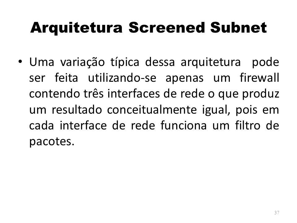 Arquitetura Screened Subnet Uma variação típica dessa arquitetura pode ser feita utilizando-se apenas um firewall contendo três interfaces de rede o que produz um resultado conceitualmente igual, pois em cada interface de rede funciona um filtro de pacotes.