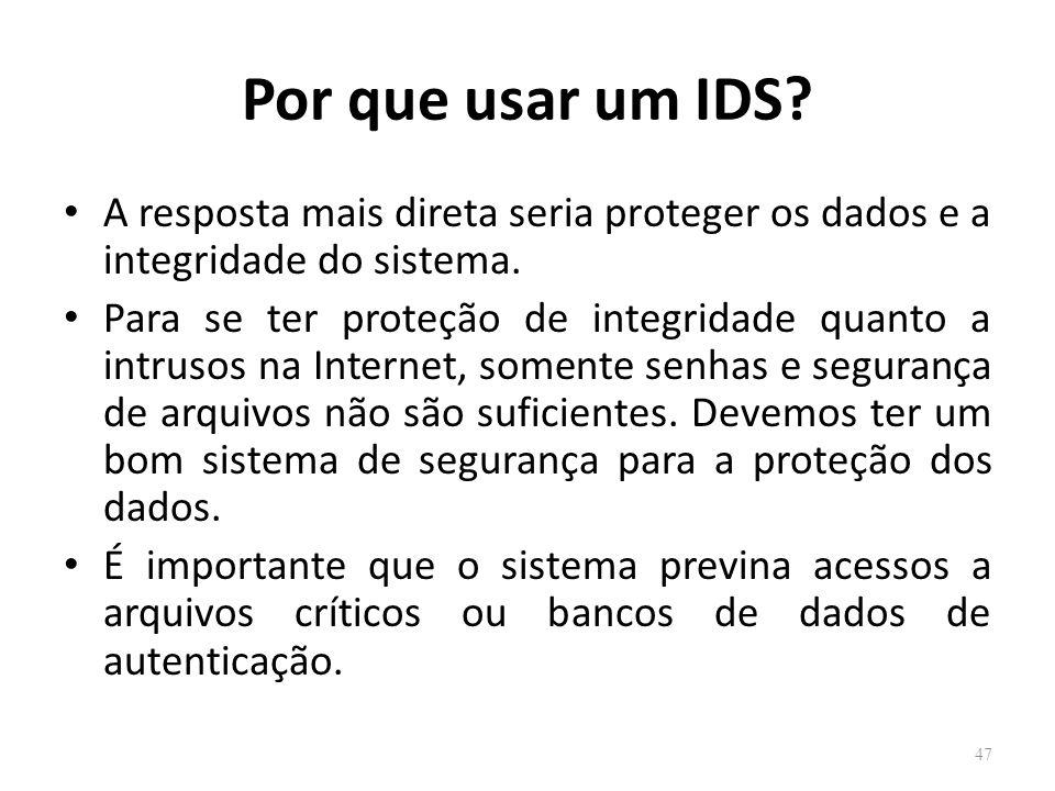 Por que usar um IDS.A resposta mais direta seria proteger os dados e a integridade do sistema.