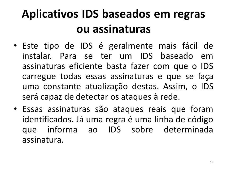 Aplicativos IDS baseados em regras ou assinaturas Este tipo de IDS é geralmente mais fácil de instalar.