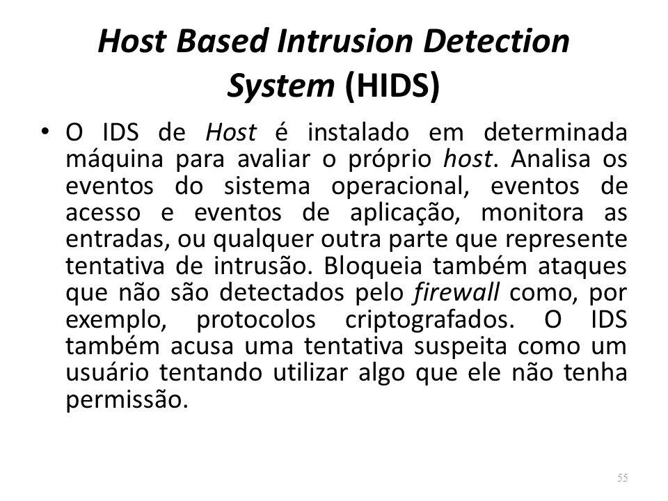 Host Based Intrusion Detection System (HIDS) O IDS de Host é instalado em determinada máquina para avaliar o próprio host.
