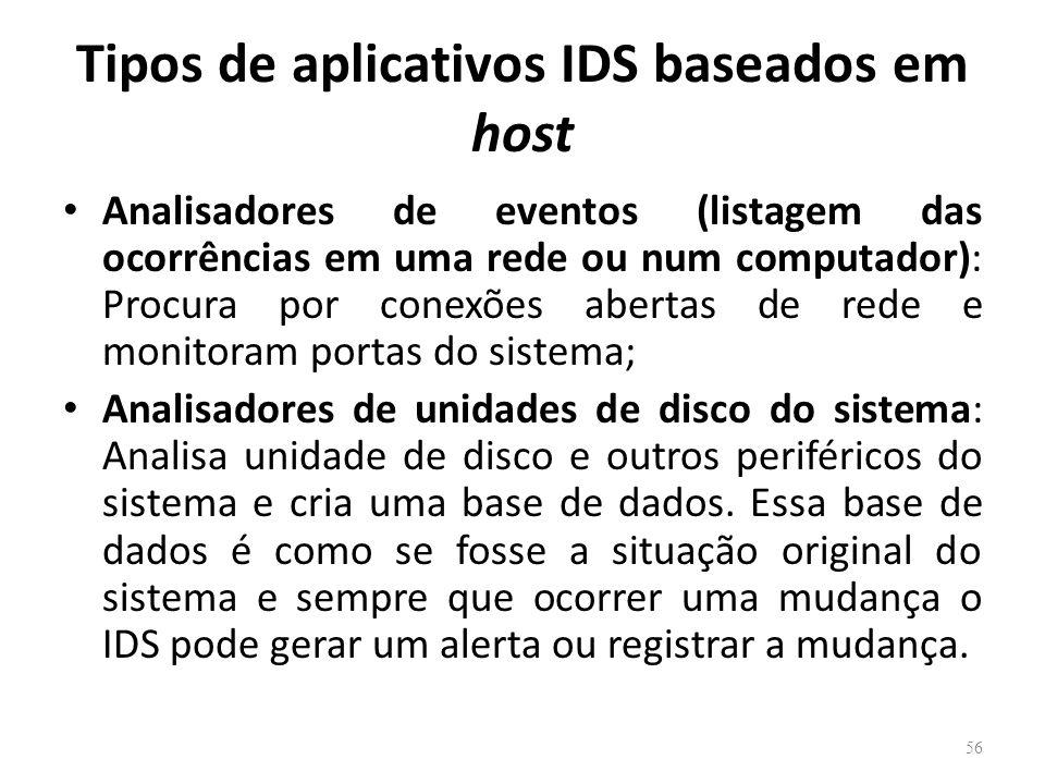 Tipos de aplicativos IDS baseados em host Analisadores de eventos (listagem das ocorrências em uma rede ou num computador): Procura por conexões abertas de rede e monitoram portas do sistema; Analisadores de unidades de disco do sistema: Analisa unidade de disco e outros periféricos do sistema e cria uma base de dados.