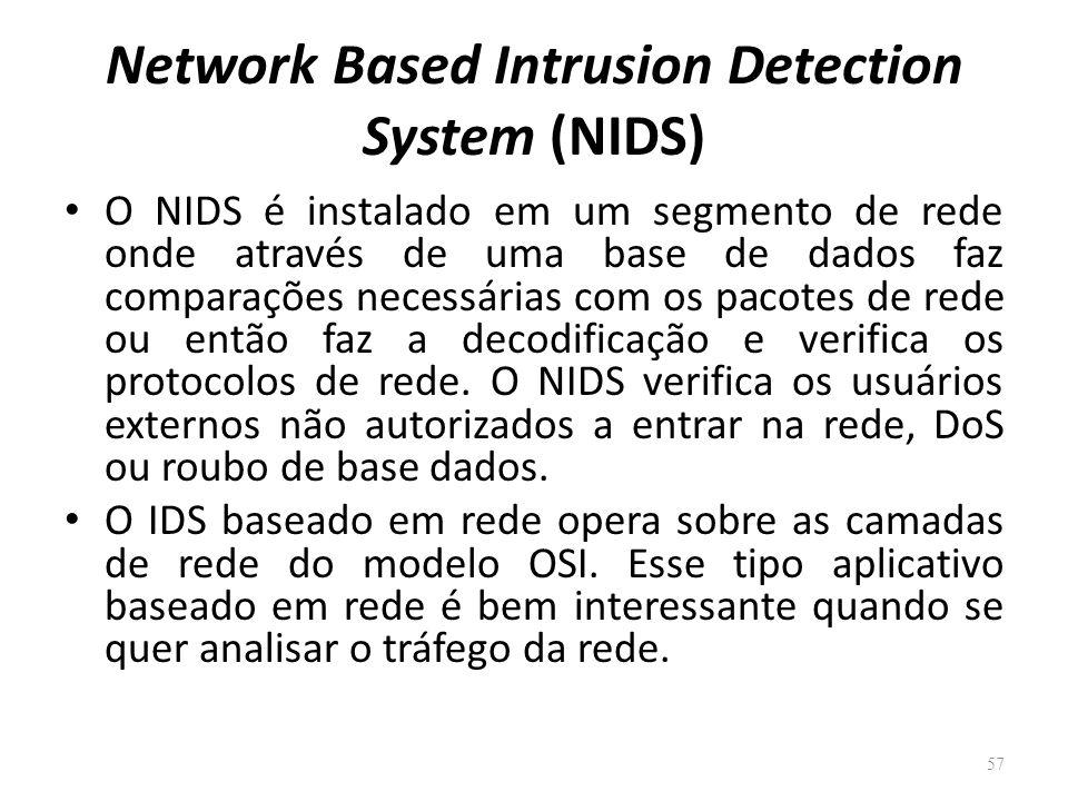 Network Based Intrusion Detection System (NIDS) O NIDS é instalado em um segmento de rede onde através de uma base de dados faz comparações necessárias com os pacotes de rede ou então faz a decodificação e verifica os protocolos de rede.