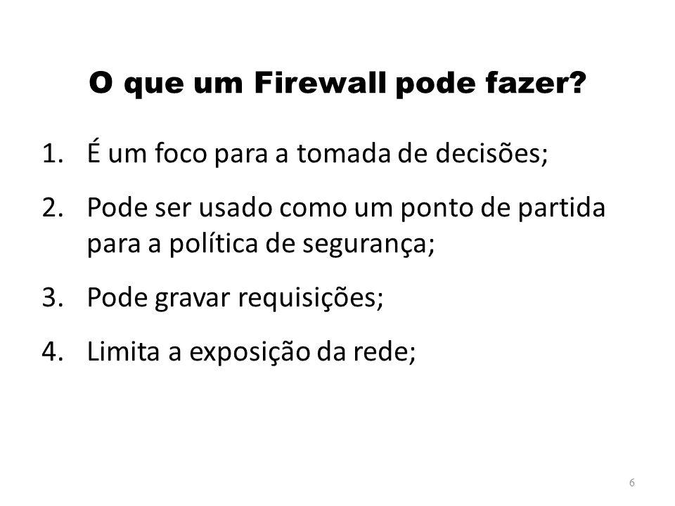 Filtro de Pacotes Baseados em Estados (cont.) Funcionamento: – O firewall monitora as conexões.