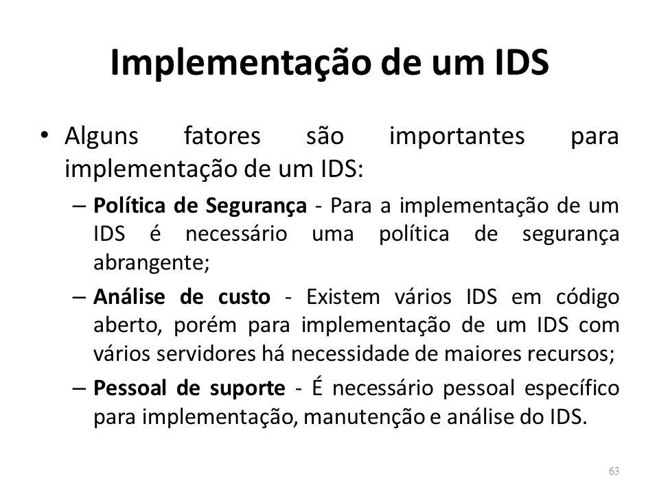 Implementação de um IDS Alguns fatores são importantes para implementação de um IDS: – Política de Segurança - Para a implementação de um IDS é necessário uma política de segurança abrangente; – Análise de custo - Existem vários IDS em código aberto, porém para implementação de um IDS com vários servidores há necessidade de maiores recursos; – Pessoal de suporte - É necessário pessoal específico para implementação, manutenção e análise do IDS.
