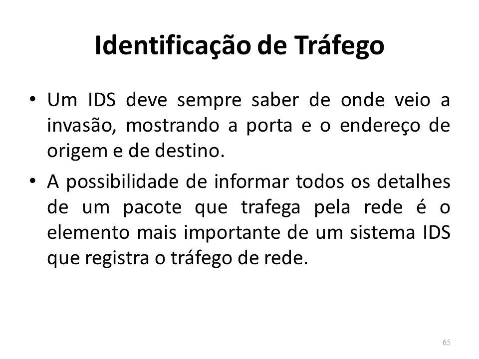 Identificação de Tráfego Um IDS deve sempre saber de onde veio a invasão, mostrando a porta e o endereço de origem e de destino.