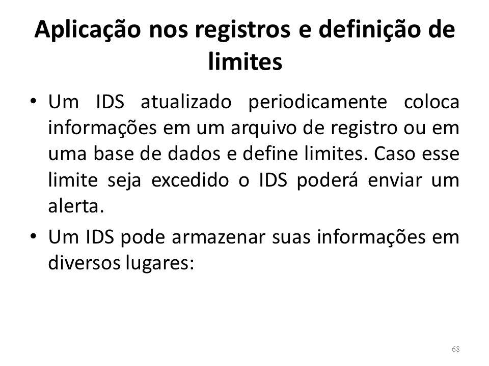 Aplicação nos registros e definição de limites Um IDS atualizado periodicamente coloca informações em um arquivo de registro ou em uma base de dados e define limites.