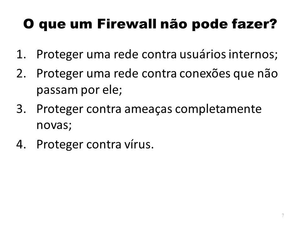 Tipos de Firewall Existem os seguintes tipos de firewall: – Filtro de Pacotes; – Filtros de Pacotes Baseados em Estados; – Servidores Proxy; – Firewalls Híbridos; – Firewalls Reativos; – Firewall Pessoais.