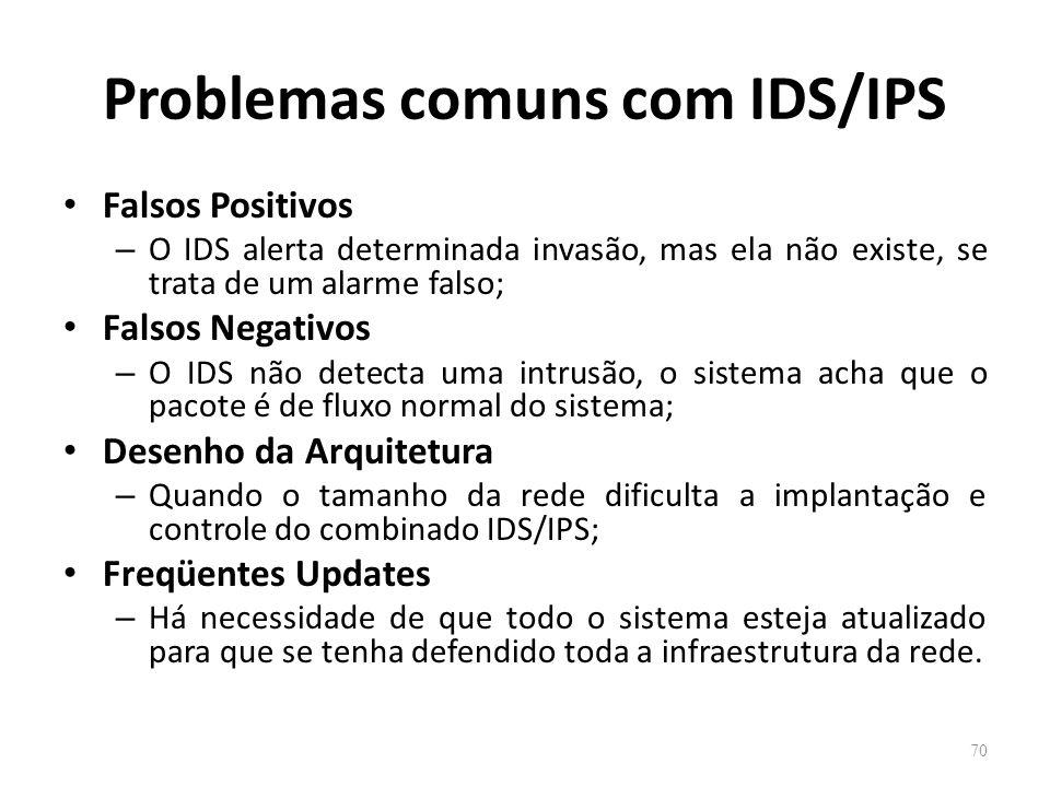 Problemas comuns com IDS/IPS Falsos Positivos – O IDS alerta determinada invasão, mas ela não existe, se trata de um alarme falso; Falsos Negativos – O IDS não detecta uma intrusão, o sistema acha que o pacote é de fluxo normal do sistema; Desenho da Arquitetura – Quando o tamanho da rede dificulta a implantação e controle do combinado IDS/IPS; Freqüentes Updates – Há necessidade de que todo o sistema esteja atualizado para que se tenha defendido toda a infraestrutura da rede.